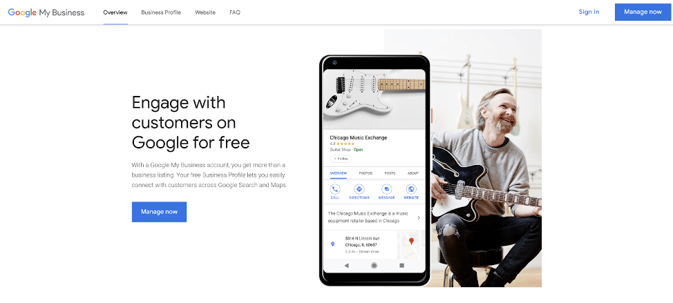 Google My Business home page screenshot