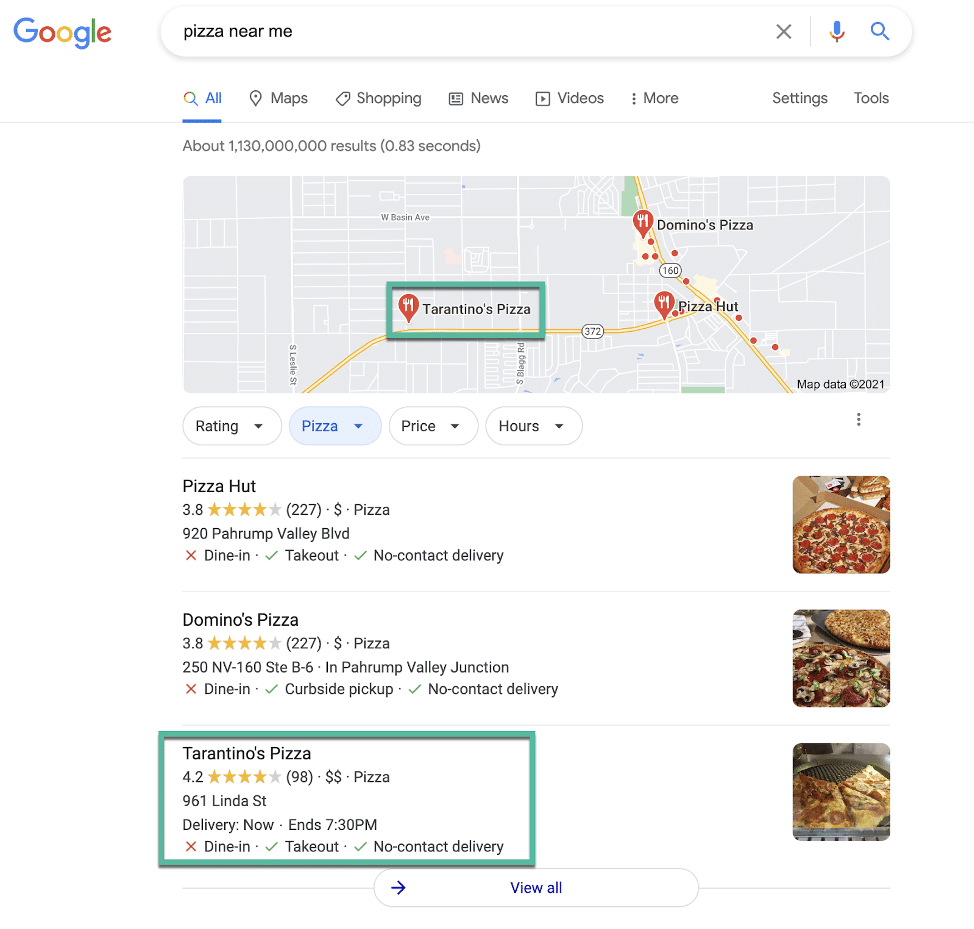 Pizza Near Me Google Business search results