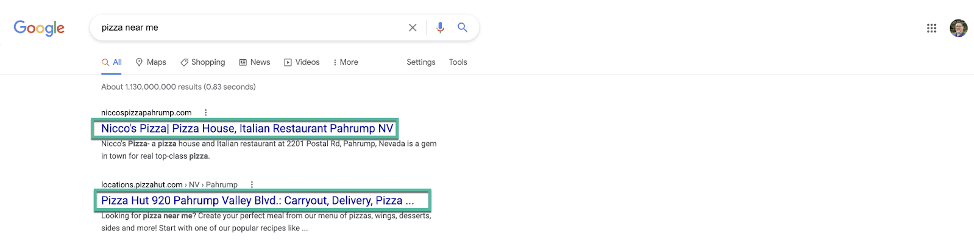 Title tags from google search results