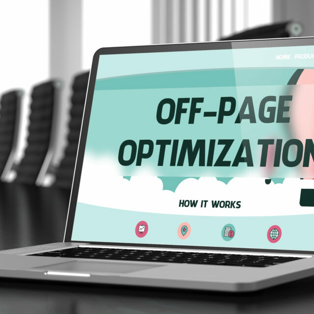"""The text """"Off-page optimization"""" on a laptop screen"""