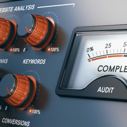 Website audit dashboard showing knobs with dials labeled conversion and analysis
