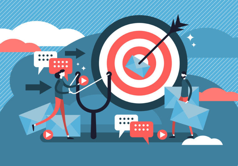 Graphic with a bullseye, slingshot, and message icons