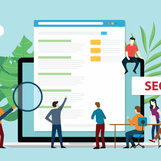 Graphic of people with the label SEO