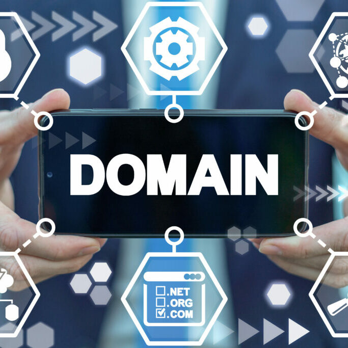 """Text that says """"domain"""" surrounded by abstract technical icons"""