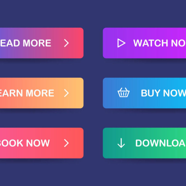 Call to action buttons on a navy background: read more, watch now, learn more, buy now, book now, download