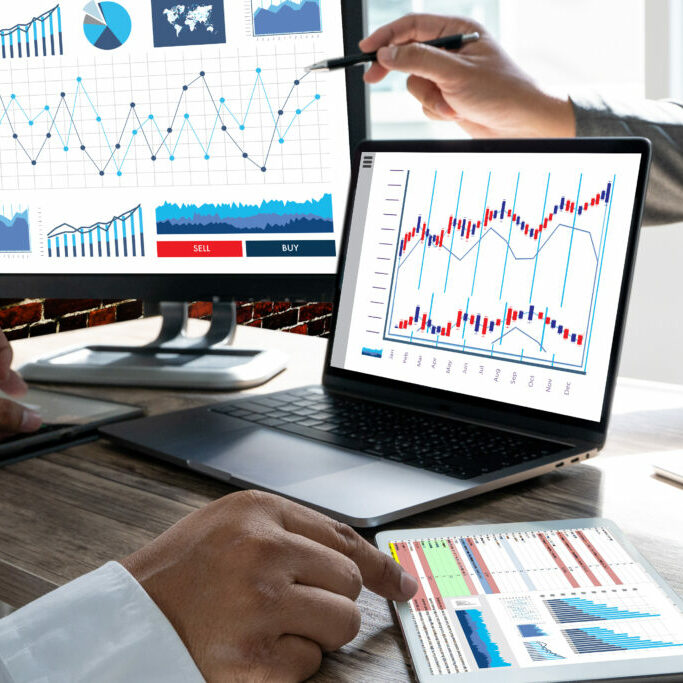 SEO plugins showing analytics data with hands pointing to charts