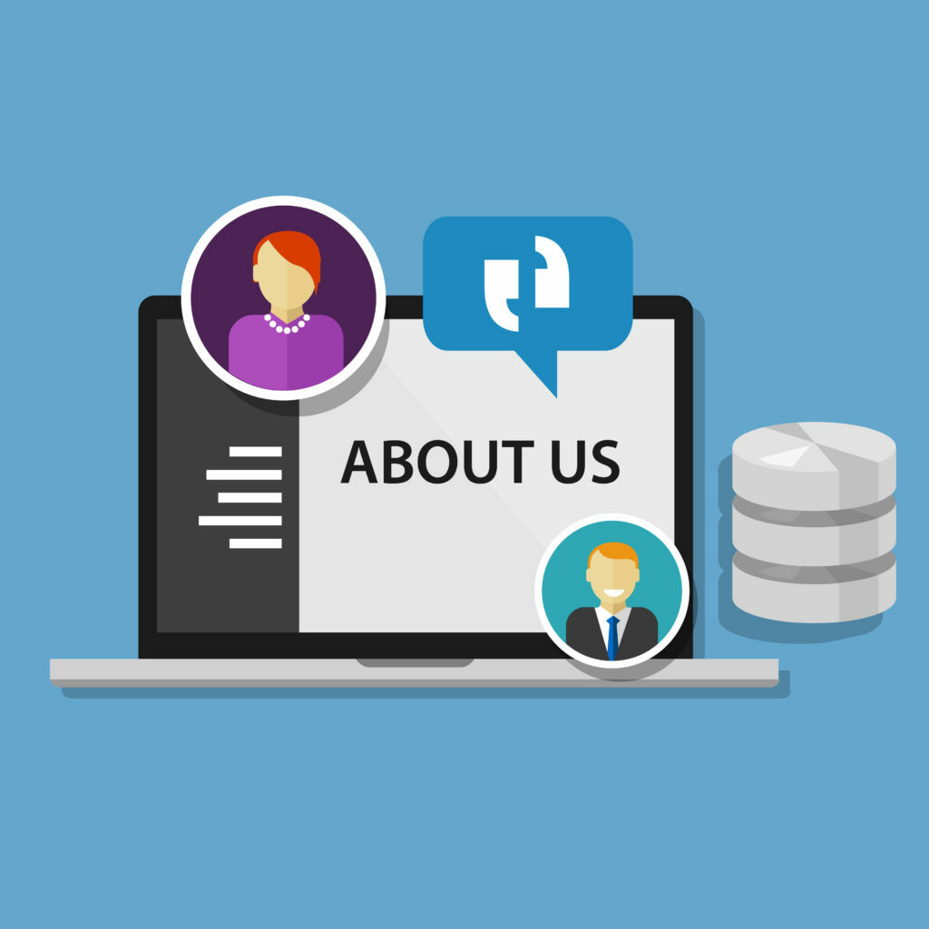 About Us page on laptop graphic