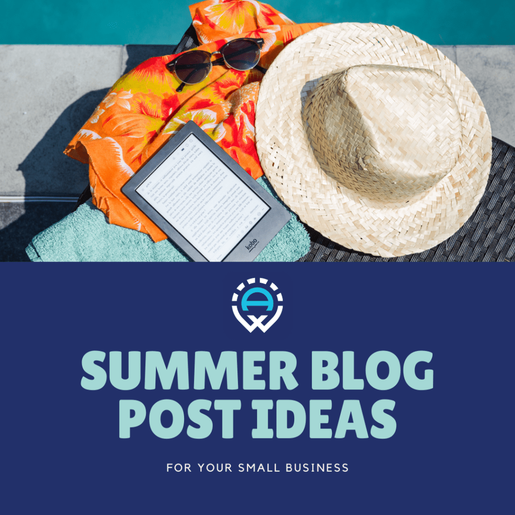 """Image of beach towel, Kindle, and sunhat with text """"Summer Blog Post Ideas"""""""
